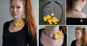 Yellow tetris necklace by myREDhair