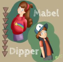 Mabel and Dipper by SophiaBrielle