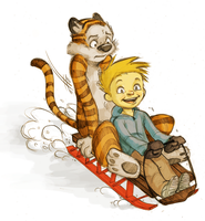 Calvin and Hobbes by raddishh