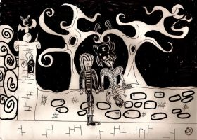 Goth lovers by the gate by Christopia1984