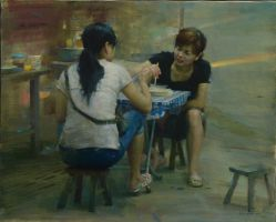 Morning Chatting by Huihan Liu OPAM by OilPaintersofAmerica
