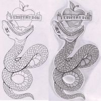 eden snake tattoo flash by the-taste-of-blood