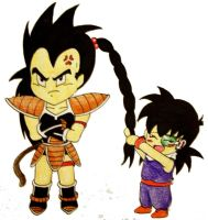 Art Trade: Gojie with Raditz by PDJ004