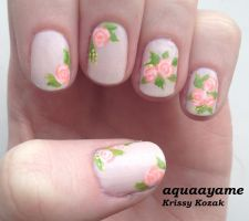 Flowery Nails by aquaayame