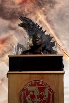 Godzilla and Director Nick Fury by Kongzilla2010