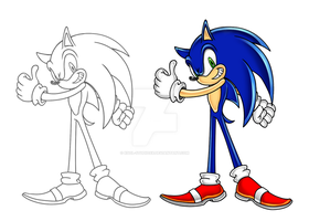 Sonic Adventure sketch COLOR! by XSol-StudiosX