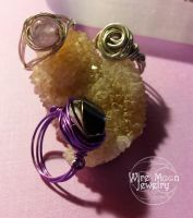 Several Handmade Rings on Cyrstal by WireMoonJewelry