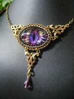Iris, Hot Pink, And Gold Eye In Brass And German S by BacktoEarthCreations