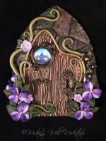 Polymer Clay Fairy Door with Landscape Portal by missfinearts