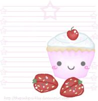 Cupcake-Strawberry Stationery by ThePinkSparkles