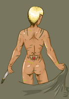 girl with knife naked by NL0rd