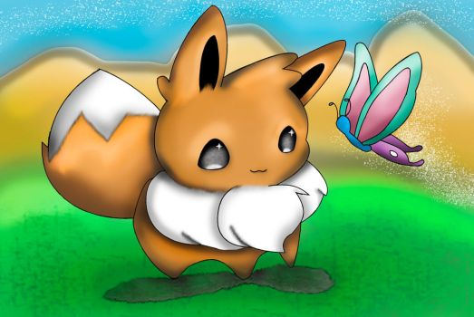 Eevee and Butterfly? by RoboCop17