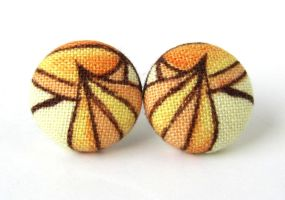 Button earrings studs yellow brown orange fabric by KooKooCraft