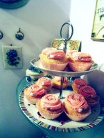 Pink Rose Cupcakes by VanillaVictoria