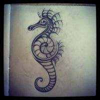 Bio-Seahorse Tribal Tattoo by ItsREDbitch
