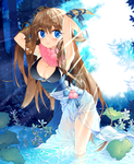 Girl and Blue Forest by potco