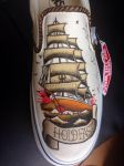 Sailor Jerry Custom kicks left shoe by dannyPs-customs
