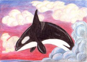 Jumping orca by Deslichen