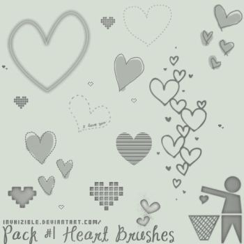 Pack num.1 Heart Brushes by invhizible