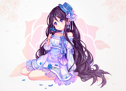 [+Video] Commission - Blue Roses by Hyanna-Natsu
