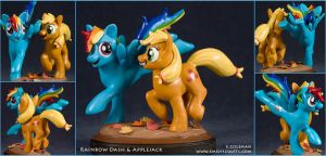 MLP : Rainbow Dash + Applejack by emilySculpts