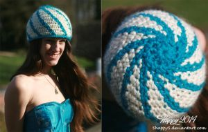 White and Turquoise Spiral Crochet Hat by 5Happy5