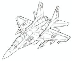 Coloring Book MiG-29 Fulcrum by Heatherbeast
