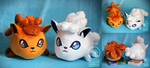 Vulpix and Alola Vulpix polochon custom plush by Peluchiere