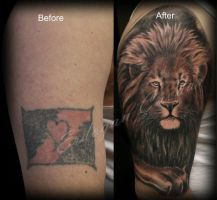 Lion cover up tattoo by ErdoganCavdar
