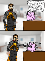 Gordon Freeman and Clefairy by LupineWarlord
