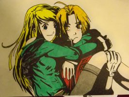 edward elric and winry rockbell by edvardstas