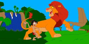 Mowgli and Simba: Heroes and Worlds Collide by SammyD91