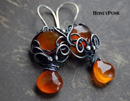 Earrings wire wrap with chalcedony and silver ster by honeypunk
