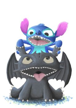 Toothless and Stich by rezakur