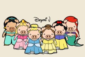 disney pigcesses. :D by malinamnam