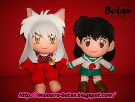 chibi Inuyasha and Kagome plush version by Momoiro-Botan