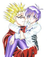 Big Vash and widdle Meryl by thegreatlimechan