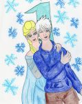 Christmas Countdown 2015:  Elsa and Jack Frost by kakashisgirlfighter