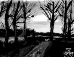 landscape in black and white with logo by CatOfDarkness1996