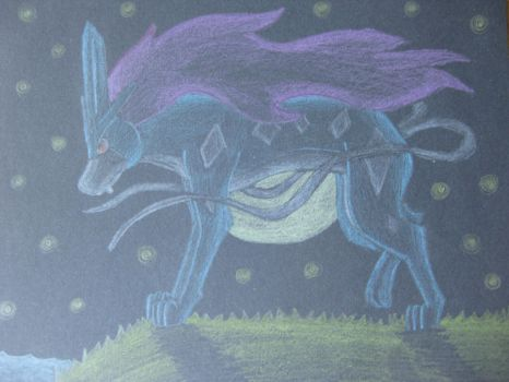 Suicune under the stars by Hidavalentinwar