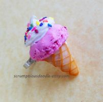 polymer clay strawberry ice cream cone ring by ScrumptiousDoodle