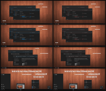Max Mix Dark Bue and Red Theme Win10 Creators by Cleodesktop