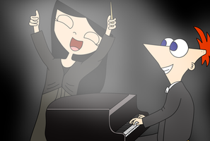 Conductor Isabella and Soloist Phineas by TheSkull31