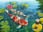 Koi and Waterlilies by j0rosa