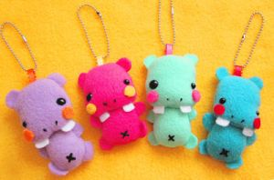 Baby Hippo Keychains by casscc
