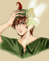 Peter Pan and Tinkerbell (anime version) by AcchanChangmin