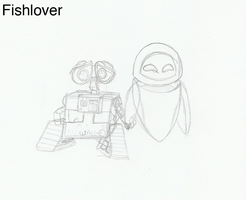 Wall-E and Eve Sketch 2 by Fishlover