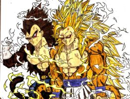 Goku SSj7 And Vegeta SSj5 by BlakSkull