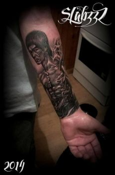 Bruce Lee portrait Tattoo by CalebSlabzzzGraham