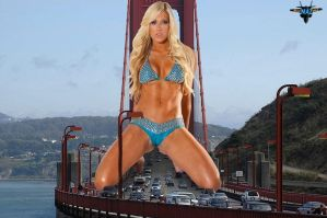 Giantess on the Golden Gate Bridge by MAZ-629999